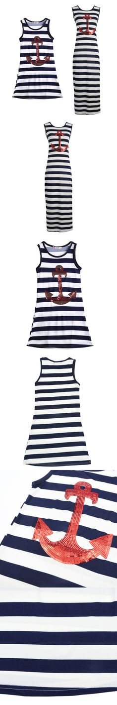 New Fashion Dresses Sleeveless Mother girl Family fitted cotton dress kids clothes Striped Dress YTUB0
