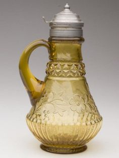 Amber Wildflower Syrup Pitcher Adams and Co. Glass 19th century