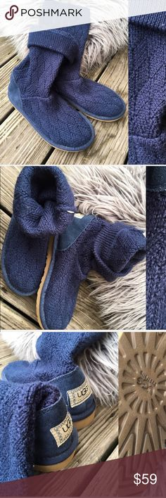 🔹UGGS women knit crochet boots Worn but in great condition, tags were cut off for comfort, fits size 6-6 1/2 adult women size. I am size 7 ( women ) and it fits me, but tight on my feet. Please feel free to ask questions. UGG Shoes Ankle Boots & Booties