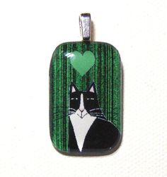 Orange tabby cat jewelry sale glass pendant tuxedo cats sale tuxedo cat glass pendant by susanfayepetprojects 800 aloadofball Gallery