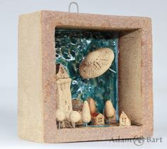 Ceramic Diorama / Tiny Houses / Small Town / UFO / Aliens / Unique / Sculpture / 3D Picture / Small Houses / Hand Made / Frames / Clay (240) by Euble on Etsy