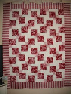 The D9P quilt I made for myself. Love red and cream as a duo!