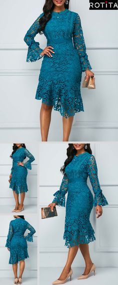 Next Previous Peacock Blue Flare Sleeve Asymmetric Hem Lace Dress.Shop dresses designed to twirl at Rotita.This navy style will have you feeling royally fashionable. African Lace Styles, African Lace Dresses, African Fashion Dresses, Fashion Outfits, Womens Fashion, Trendy Clothes For Women, Trendy Dresses, Lace Dress Styles, Dress Lace