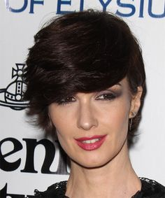 View yourself with this Paz Vega Short Straight Dark Mocha Brunette Hairstyle Meg Ryan Hairstyles, Side Swept Hairstyles, Braided Ponytail Hairstyles, Formal Hairstyles, Hairstyles Haircuts, Straight Hairstyles, Colorful Highlights In Brown Hair, Vegas Hair, Side Curls