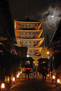Night scene in Higashiyama, Kyoto, #Japan