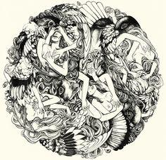 Nesting in winter / mediums:ink / by serenekitchen #art #illustration