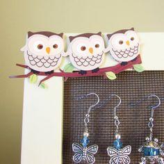 Earring Holder Earring Organizer Owl Frame by EarthlieTreasures, $16.99