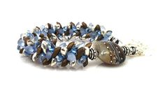 Kumihimo Bracelet Chunky in Denim and Brown