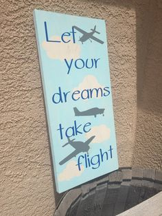 Let your dream take flight wood sign - airplane decor - boy nursery - boy room decoration - baby shower gift - welcome baby gift - boy sign