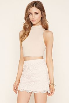 Scalloped Floral Lace Skirt