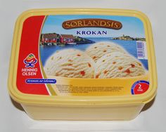 A package of ice cream made by Henning Olsen in Norway ~ best icecream!!! Made with frwesh milk and eggs. Krokanis (brittled almond ice cream)