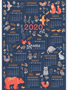 Calendar for 2020 in a fabulous folk style. Blue background, forest animals and birds, flowers and leaves. Diy Calendar, Print Calendar, Calendar 2020, Calendar Design, Moda Popular, Graphic Design Magazine, Magazine Design, Design Bauhaus, Calendar Wallpaper