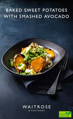 Baked sweet potatoes with smashed avocado—might the time to try that vegan feta-style cheese again. Vegaterian Recipes, Avocado Recipes, Veggie Recipes, Gourmet Recipes, Cooking Recipes, Healthy Recipes, Healthy Meals, Recipies, Dinner Recipes