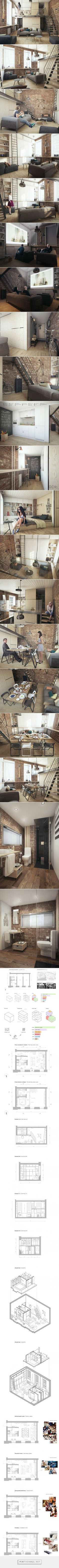 A Super Small Apartment That Adapts To Its Owner's Needs... - a grouped images…