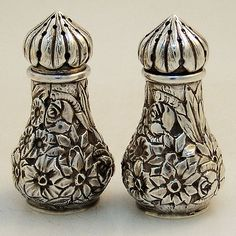 Repousse Salt Pepper Shakers by Ritter Sullivan Baltimore 1880 Sterling Silver