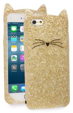 Obsessing over this gold glittery silicone phone case in the shape of a kitty by Kate Spade. It's perfect for keeping the phone safe from scratches and scuffs.