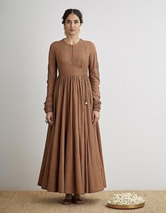 Buy Kaahi Brown Hand Embroidered Angrakha Set by Dhruv Singh Available at Ogaan Online Shop Kurta Designs Women, Kurti Neck Designs, Dress Neck Designs, Blouse Designs, Indian Dresses, Indian Outfits, Pakistani Dresses, Indian Designer Outfits, Designer Dresses
