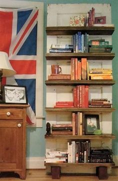Repurposed door bookcase and many other ideas for repurposing doors