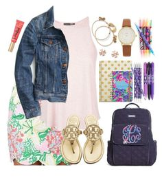 """""""Set 2: first day"""" by lbkatie17 on Polyvore featuring Lilly Pulitzer, Topshop, J.Crew, Tory Burch, Alex and Ani, Too Faced Cosmetics, Vera Bradley, Kate Spade and katesbtsb2k16"""