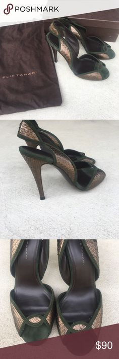 """Elie Tahari High Heel Sandals Beautiful Elie Tahari High Heel Sandals never worn outside! Size 6.5, emerald suede & antique bronze python material. 4.5"""" heel. Comes with shoe bags & box. Elie Tahari Shoes Heels"""