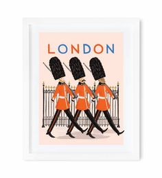 In step with the Queen's Guard, marching across a print of Anna Bond's gouache illustration.