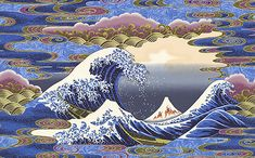 """Hokusai's Wave in the Clouds - Sapphire Blue - 24"""" x 44"""" PANEL - Quilt Fabrics from www.eQuilter.com"""