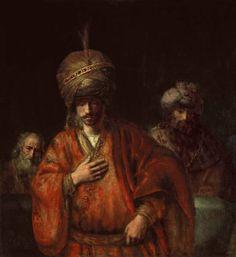 Рембрант 235.Аман узнаёт свою судьбу (вар. Урия перед Давидом) (ок.1665) (127 x 116) (С-Петербург, Эрмитаж)
