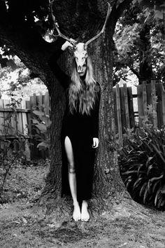 allblackeverything long black gown wavy hair antler
