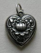 "Vintage Water Lily Sterling Heart Charm, engraved ""Leslie"""