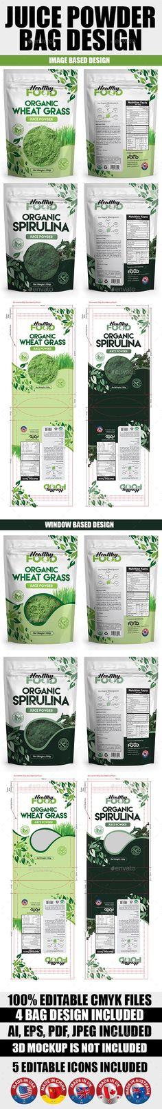 Juice Powder Bag Design Template - Packaging Print Templates