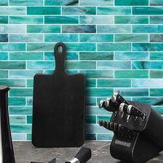 "Melay Glass Laguna 1"" x 4"" Glass Mosaic Tile & Reviews   Wayfair Stone Mosaic Tile, Mosaic Wall, Mosaic Glass, Ceramic Subway Tile, Glass Subway Tile, Green Tile Backsplash, Backsplash Ideas, Glass Brick, Glass Installation"