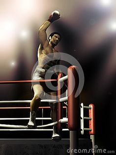 Boxer standing on the ropes of the ring, celebrating his victory.