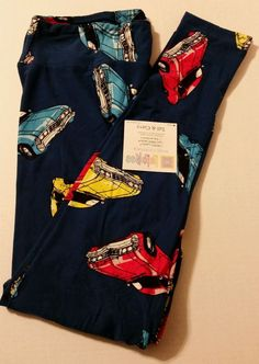 LuLaRoe TC Blue Yoga Waist Leggings Cars Red Yellow Blue New  #LuLaRoe