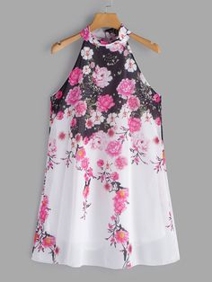 It features with halter neckline, sleeveless, random floral print and button keyhole design. Stylish Dresses, Casual Dresses, Boho Outfits, Fashion Outfits, Latest Fashion Dresses, Scuba Dress, Blouse Styles, Print Button, Dress Patterns