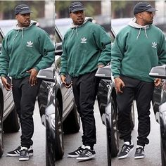 Ye in all adidas wearing a pair of Adidas Gazelle #kanyewest