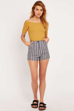 Urban Outfitters Smart Shorts in Ivory Stripe