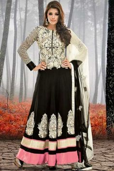 Black Faux Georgette Embroidered Party and Festival Lawn Kameez Sku Code:223-4129SL611971 $ 111.00