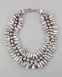 Nest Pave Pearl Necklace - Love big gemstone jewelry www.tanyalochridge.com.