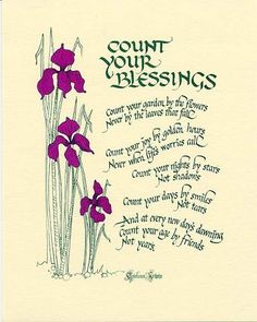 Count Your Blessings Count your garden by the flowers Never by the leaves that fall Count your joy by golden hours Never when life's worries call Count your nights by stars Not Shadows Count your days Blessed Quotes, Thankful And Blessed, Blessed Sunday, Happy Sunday, Good Times Quotes, Night Shadow, Artist Bio, Card Sentiments, Birthday Images