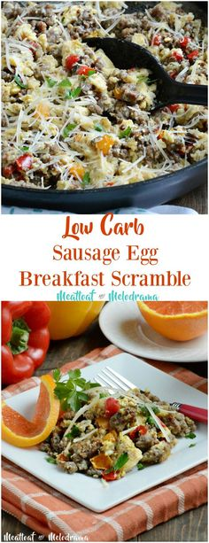 Low Carb Sausage Egg Breakfast Scramble - Quick and easy gluten free breakfast skillet with peppers and cheese added in. From Meatloaf and Melodrama