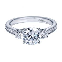 1.75cttw 3-Stone Plus Diamond Engagement Ring with Channel Set Side Diamonds and Trellis Detail