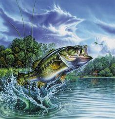 Bass Fishing Lake Sunset Painting Fabric Poster x Decor 02 Bass Fishing Lures, Gone Fishing, Best Fishing, Fishing Hole, Fishing Knots, Kayak Fishing, Bass Fishing Pictures, Cross Paintings, Fish Paintings
