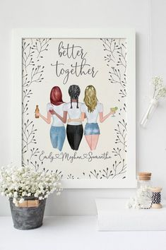PRINTABLE Three 3 best friends sale personalized best friend wall art bestfriend print sister gifts gift for mothers sisters cowrokers 3 Best Friends Gifts, Personalized Best Friend Gifts, Best Friend Christmas Gifts, Best Friends Sister, Best Friends Forever, Sister Gifts, Three Friends, Birthday Gifts For Bestfriends, Birthday Presents For Friends