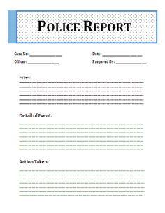 Printable Sample Police Report Template Form | Sample Basic Legal ...