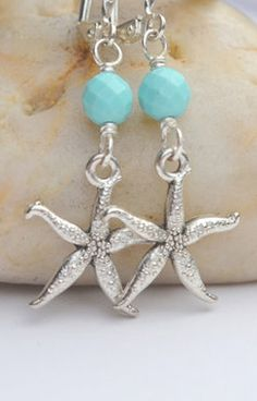 Silver Starfish Dangle Earrings with Turquoise Beads Sea Jewelry, Jewelry Crafts, Gemstone Jewelry, Beaded Jewelry, Earrings Handmade, Handmade Jewelry, Bijoux Diy, Summer Jewelry, Bead Earrings