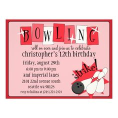 Retro Red Totally Retro Bowling Birthday Party Custom Announcements
