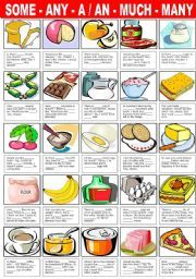 English worksheet: SOME - ANY -A/AN - MUCH - MANY (REVIEW ...