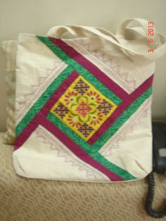 Embroidered patch tote