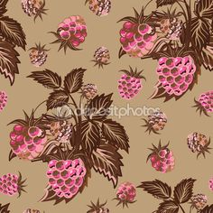 Seamless pattern with pink raspberries on beige background  in cartoon style. Hand drawn design for Thank you card, Greeting card or Invitation or fabric. Vector illustration. — Ilustracja stockowa #96670750