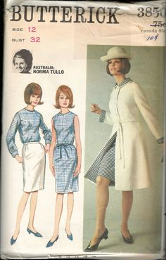 """Vintage 1965 Butterick 3850 Norma Tullo Coat, Dress, Blouse & Skirt Sewing Pattern Size 12 Bust 32"""" UNCUT by Recycledelic1 on Etsy"""